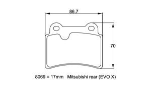 Plaquettes de frein Pagid RS42 Mitsubishi Lancer Evo X Année 07- AR