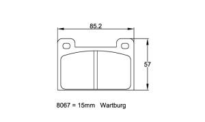 Plaquettes de frein Pagid RSH42 Wartburg 1.0, 1.3 Année 66-91 Avant
