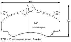Plaquettes de frein Pagid RSL29 Porsche 996 GT2 Année 2002 Avant