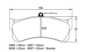 Plaquettes de frein Pagid RSL29 Porsche 997 GT3 RSR Année 07- Avant
