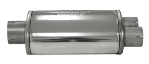 Silencieux ovale Split inox - diamètre 76.4mm - 2 x 63.8mm long.450mm