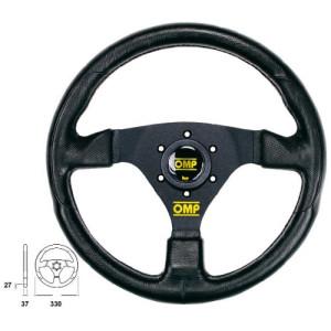 Volant OMP Racing GP Skai Noir Branches Anodisées Noires plat 330mm