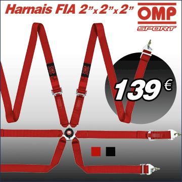 Harnais 6 points Fia Omp Sport