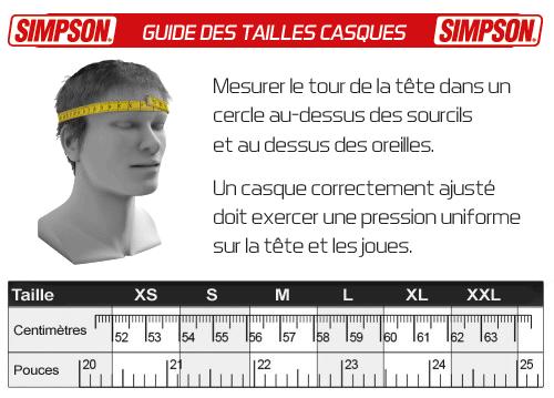 Guide des tailles pour votre casque Simpson